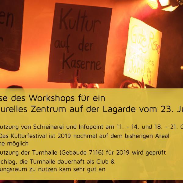 Workshops für ein soziokulturelles Zentrum auf der Lagarde
